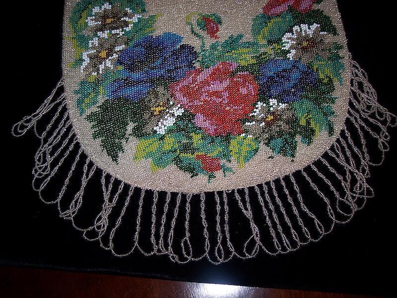 Gorgeous Antique Micro Beaded Bag Purse c.