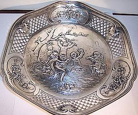 Continental German 800 Silver Basket Bowl with Cupids