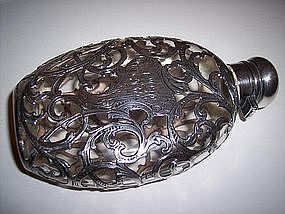 American Sterling Silver Overlay Flask Signed Alvin