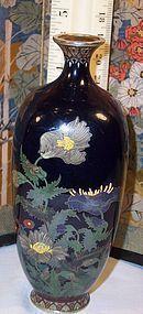 Fine Japanese Meiji Golden Age Cloisonne Enamel Vase Hayashi