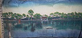 "Fine Chinese 47"" Silk Panel Beautiful Lake Scene"