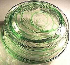 Steuben Green Threaded Glass Dresser Jar Sgnd.
