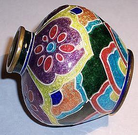 Rare Art Deco Japanese Moriage Cloisonne Enamel Vase