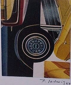 Modernist Collage New York Artist Fred Ladwig Cars '68
