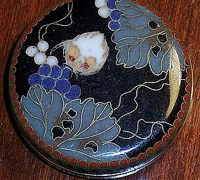 Rare Japanese Cloisonne Enamel Box Grapes imperial Mon