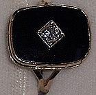 Ladies Vintage Art Deco 14K Black Onyx Diamond Ring