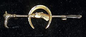 Fine Victorian 14k Gold Equestrian Riding Crop Bar Pin