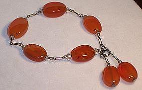Vintage Art Deco Carnelian Agate Sterling Bracelet