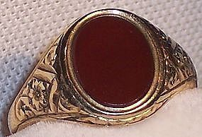 Vintage English 9 K Gold Carnelian Agate Stone Ring