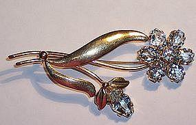 Retro Tiffany 14k Gold Aquamarine Brooch