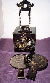 Japanese Lacquer Makeup Mirror Toilette Dresser Set