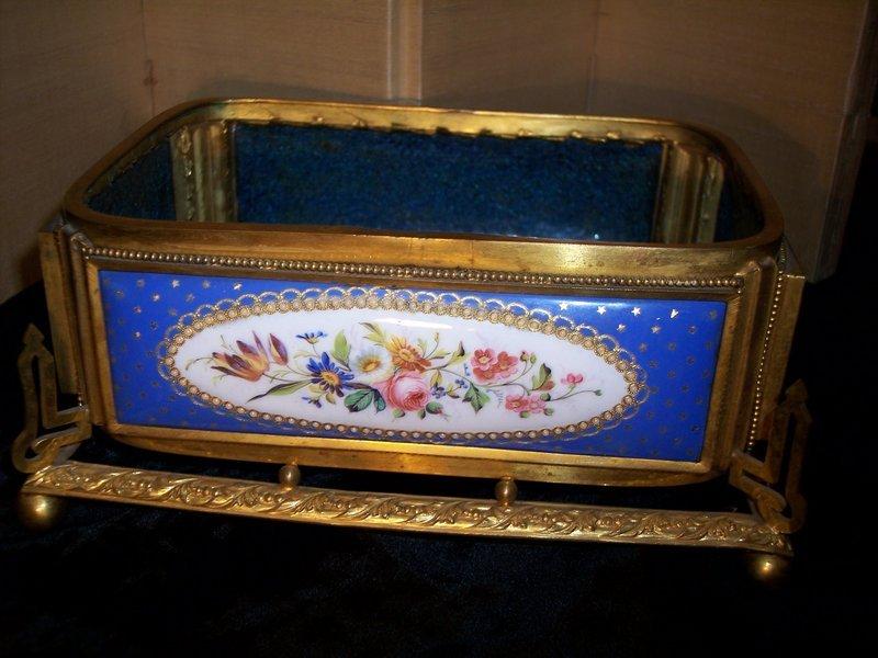 French Enamel & Ormolu Dried Flower Holder Vase Bowl