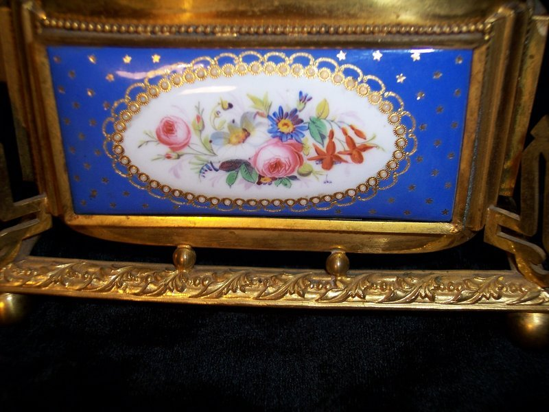 French Enamel & Ormolu Dried Flower Holder Vase Bowl