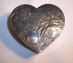 Continental Germany Hanau 800 Silver Heart Trinket Box Couple Scenes