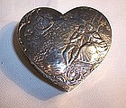 Continental Germany Hanau 800 Silver Heart Trinket Box Couple Scenes