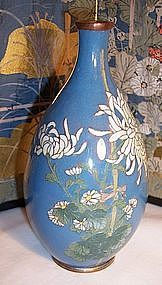 Meiji Japanese Cloisonne Cabinet Vase Silver Wire Mums