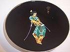 English Sterling Enamel Japanese Samurai Sake Cup Dish