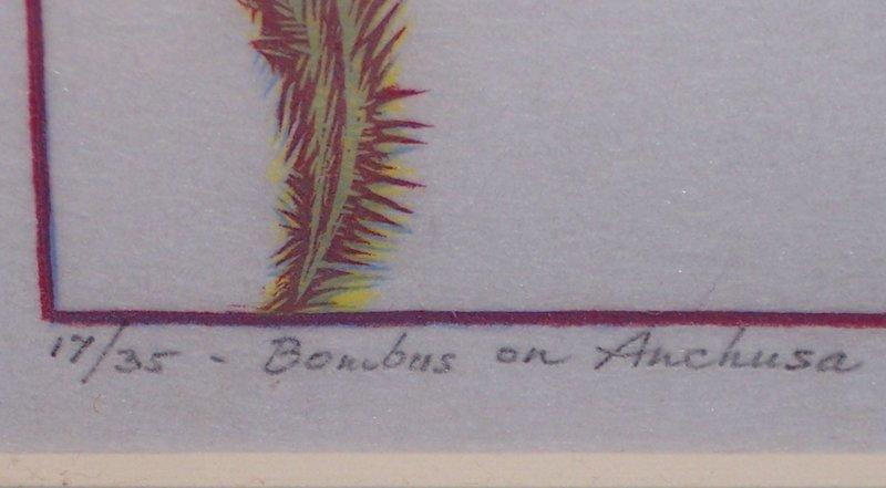 "Woodblock Print ""Bombus on Anchusa"" James Dexter Havens 1938"