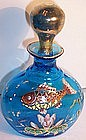 Victorian Moser Glass Perfume Bottle Enameled Fish