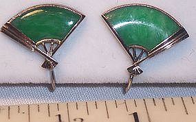Rare Antique Jade 14k Gold Japanese Fan Shape Earrings
