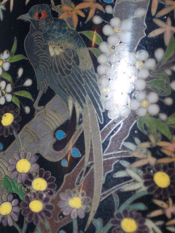 """Antique Japanese Golden Age 6"""" Cloisonne Vase Sgnd Hayashi Yojiro"""