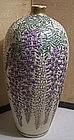 Fine Antique Japanese Satsuma Cabinet Vase Wisteria