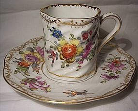 Antique Dresden H P Porcelain Cup & Saucer Flowers