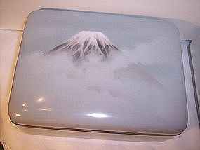 Gorgeous Japanese Cloisonne Musen Mt. Fuji Box Ando