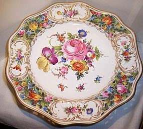 "Hand Painted Pierced Dresden Porcelain 10"" Cake Plate"