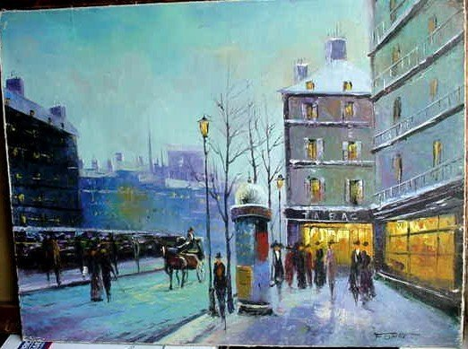 OIL ON BOARD PARIS STREET SCENE Signed