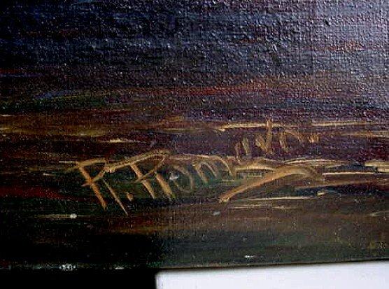ITALIAN SCHOOL OIL ON CANVAS VENICE SCENE Signed ROMERO