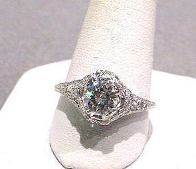 PLATINUM DIAMOND ENGAGEMENT RING 1/2 CARAT CENTER STONE