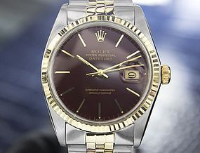 GENTS VINTAGE 1977 ROLEX TWO TONE DATEJUST 14K & STAINLESS