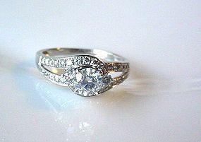14K WHITE GOLD DIAMONDS ENGAGEMENT RING