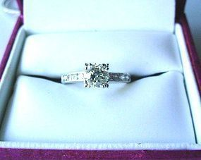 PLATINUM DIAMOND ENGAGEMENT RING .86 OLD EURO CUT DIAM