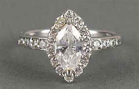 PLATINUM DIAMOND ENGAGEMENT DIAMOND RING MARQUIS CUT