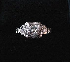 ART DECO PLAT DIAMOND ENGAGEMENT RING 1/2CT CENTER