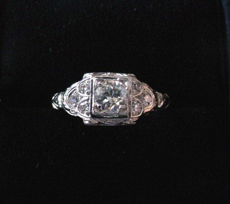 ART DECO PLAT DIAMOND ENGAGEMENT RING 1/2CT CENTER