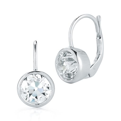 PAIR 3.50 TOTAL DIAMOND WEIGHT OLD CUT DIAMOND EARRINGS