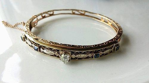 ANTIQUE DIAMOND BANGLE BRACELET 14k & HALF CARAT OLD MINE CUT