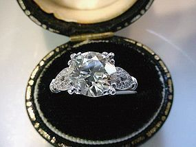 2.42 EUROPEAN CUT DIAMOND & PLATINUM ENGAGEMENT RING