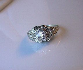 18K WHITE GOLD FILIGREE & DIAMOND ENGAGEMENT RING .85Ct VS1 GH Color