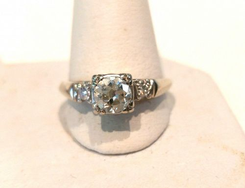 BEAUTIFUL HALF CARAT EUROPEAN CUT DIAMOND ENGAGEMENT RING