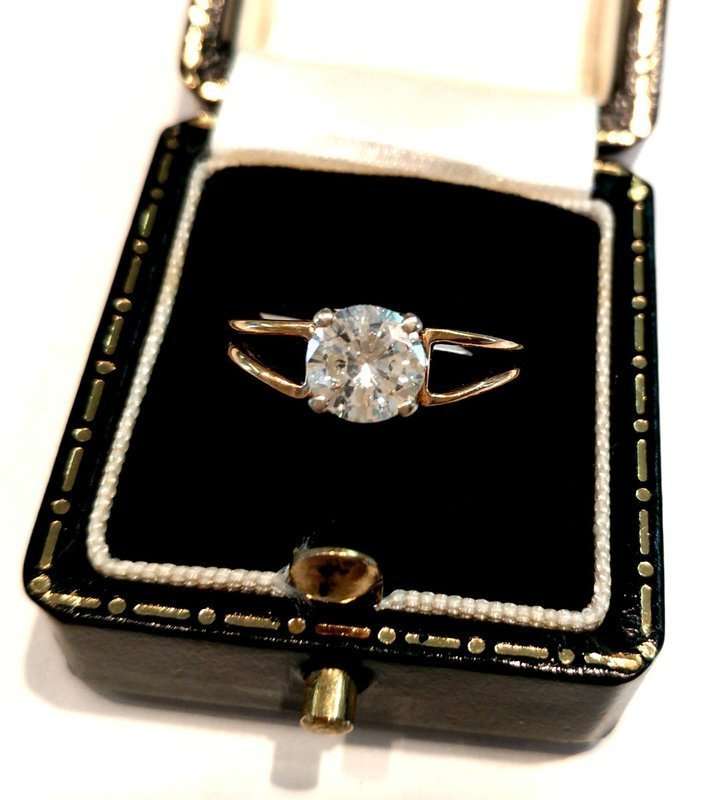 14K YELLOW GOLD DIAMOND ENGAGEMENT RING ... 1.05 CARAT ROUND DIAMOND