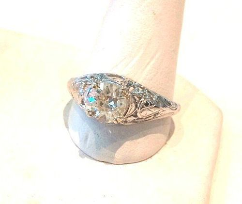 BEAUTIFUL 18K FILIGREE & .80 CT DIAMOND RING