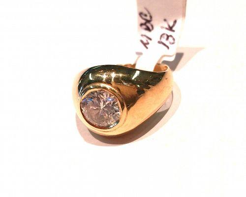 MAN'S 1.50 CARAT DIAMOND RING 18K YELLOW GOLD