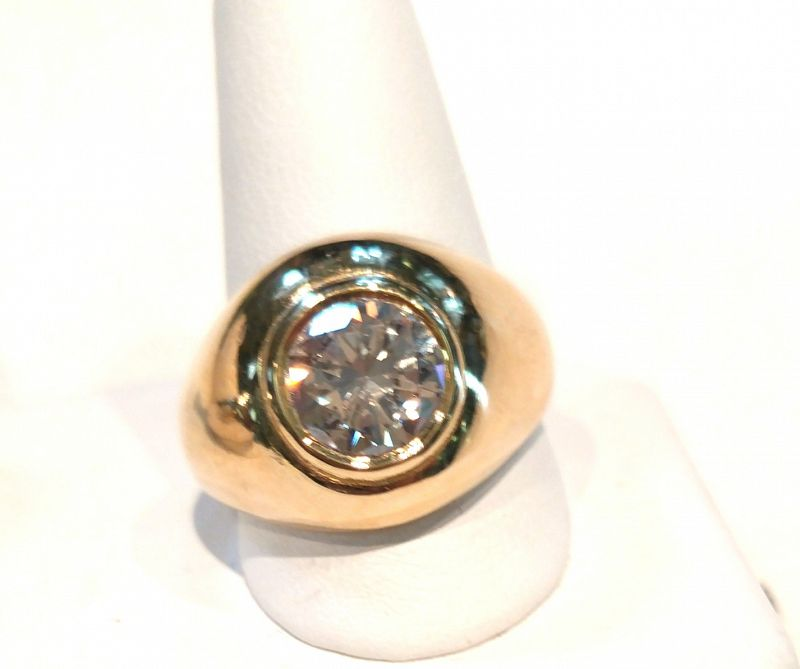 MAN'S 1.50 CARAT DIAMOND RING 18K YELLOW GOLD