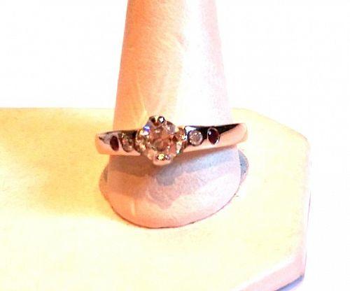 PLATINUM DIAMOND ENGAGEMENT RING RETRO .60 CARAT CENTER