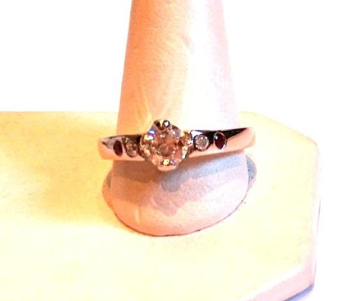 PLATINUM DIAMOND ENGAGEMENT RING RETRO .60 CARAT CENTER