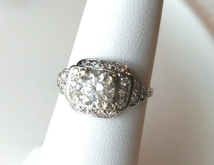 Platinum Diamond Engagement Ring 1.08 Ct. Center Diamond Step Mount